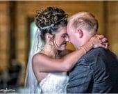 "Flower Girl Tiara, Bridal Hair Piece, Wedding Headband, Hair Accessory,  WHITE or IVORY ribbon. Silver Beads, Crystals, Rhinestones- ""Jenna"""