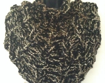 Hand-knit Turtleneck Poncho, Capelet, Wrap, Cowl, Vegan friendly, hypoallergenic