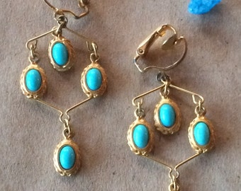 Elegant Vintage Gold & Blue Chandelier Clip Earrings