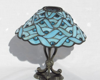 Tiffany Style Stained Glass Candle Holder Lamp - Ocean - Sea - Sky - Blue - Vintage Home Lighting Decor