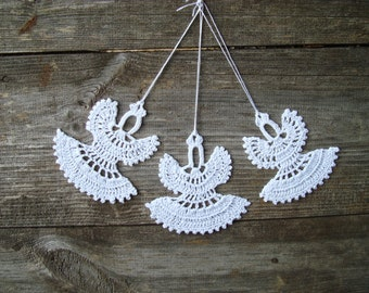 White crochet Christmas Angels, Set of 6 handmade ornaments, lace Christmas tree decorations, Angels hanging