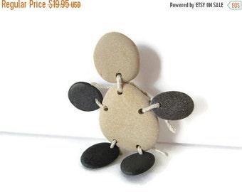 SALE Muddy Buddy/Pebble People/Mr. Pebbles/Beach Stone Brooch/Lake Michigan Stones/ Stone Figure/Handmade Pebble Brooch/Lake Michigan/Free S