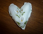 Vintage Hankie Mini Heart Pillow with Vintage Chenille Back
