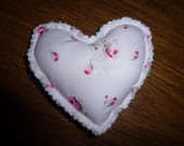 Vintage Chenille and Mini Heart Pillow with Fringed Edge
