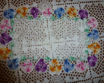 Vintage Crocheted Doily  with Colorful Pansies All Around