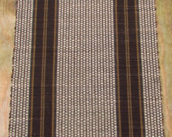 Striped Brown Rag Rug Wool Warp Recycled Clothes Yesterday's Fashions Today's Floor Covering