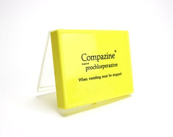 Vintage Advertising Medicine Box, Plastic, Prescription, Pharmacy, Medical, Compazine, Sample Box, Drugstore, Apothecary, Epsteam