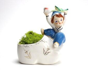 Vintage Dutch Planter, Enesco Tulip Boy Planter, Dutch Boy, Holland, Shoe Planter, Enesco, Wooden Shoe, Ceramic Planter, Epsteam