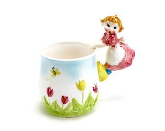Vintage Lefton Dutch Girl Mug Handle Cup, Lefton Spring Flowers, Pink Tulips, Holland, Milk Cup, 1960s Lefton, Epsteam, Napco, PY