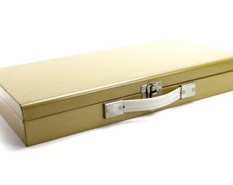 Vintage Metal Slide Box, Slide Storage, Metal Box, Harvest Gold, Storage Artists Rectangular Box with Handle, Industrial, Epsteam