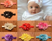 Beautiful Boutique Flower Headband, Bridesmaid Headband, Newborn Headband, Photo Prop, Baby Girl Headband, Baptism Headband