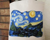 Starry Night Large Grocery Bag Tote Canvas