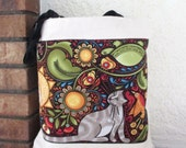 "Primitive Cat Bird Bag Large Tote Canvas 15"""