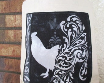 Fancy Rooster Large Grocery Bag Tote Canvas