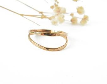 Rose Gold Double Band Ring, Stacked Ring, Pink Gold Ring, Hammered Band Ring
