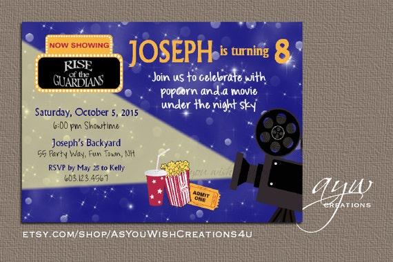 movie birthday invitation movie party invitation outside movie
