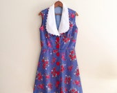 Vintage Mod Floral Babydoll Scooter Dress / Blue Gingham Print Dolly Dress /  Peter Pan Collar Mini Dress / 1960s