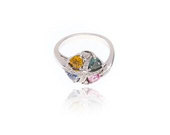 Multicolor Rainbow Sapphire & Diamond Invisible Set Fancy Ring 18K Gold (1.81ct tw): SKU 9560