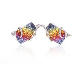 Multicolor Rainbow Sapphire & Diamond Fancy 18K Gold Earrings (7.82ct tw) SKU: 23819 + 23147 + 23362 + 23361