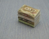 Pile four shabby chic decorative books library accessories 1:12 Scale Or 1/6 Scale Dollhouse Miniature playscale vintage books magazine
