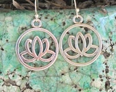 Lotus Earrings, Yoga Earrings, Yoga Jewelry, Lotus Jewelry, Buddhist Jewelry, Silver Lotus, Zen Earrings, Lotus Charms