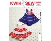 K3996 Kwik Sew Sewing Pattern for Baby's Dresses and Panties - Ruffled Baby Dress - Baby Bloomers - Sew a baby dress Nb,  - 24 months