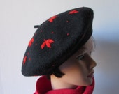 French style Beret'/Tam  Black Red Detail Wool  Large Poka-dot & leaf motif