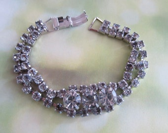 1960's Rhinestone Bracelet  Vintage/Retro/ Prom/Diamonds/Hollywood Chic