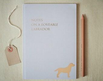 Labrador Notebook, labrador present, labrador gift, labrador stationery, labrador design, labrador silhouette