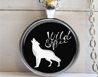 Wolf Necklace, Wild & Free Wolf Pendant, Animal Jewelry