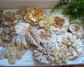 Burlap, Fabric and Paper Flowers Set, Rustic Chic Flowers, Metallic Flowers, Gold Metallic Flowers, Scrapbook Flowers Set, Shabby Style