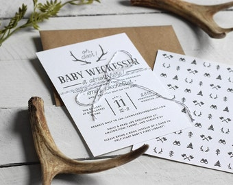 Printable Rustic Baby Boy Shower Invitation - Custom Baby Shower Invite - Oh Deer Antler Theme Baby Shower Invitation - Woodland Invitation
