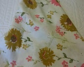 Vintage pink , mustard yellow and green floral pillowcase, standard size, sunflower