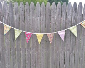 Large Pink, Yellow, and Green Fabric Pennant Banner