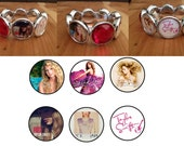 Taylor Swift Plastic Stretch Bracelet With 6 images and 2 rhinestones stocking stuffer party favor