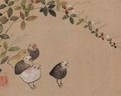 Japanese Fine Art Wall Hanging Scroll Painting Colourful Quails in Bush Clover Kakejiku – 1507126