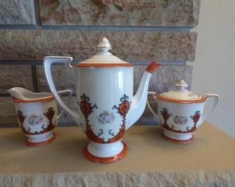 Noritake Japan 1930's Expresso coffee tea  set Handpainted