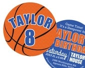 Basketball Invitations Birthday Party  -- 2 Sided -- DIY Printable or Professionally Printed and Die Cut