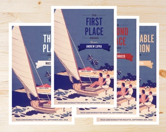 Regatta Place Award Certificates. 1st, 2nd, 3rd, Honorable Mention - INSTANT DOWNLOAD PRINTABLE - Retro Collection