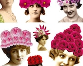 20+ VINTAGE WOMEN in Fantastic Flower Hats - Roses, Sunflowers, Lilacs, Tulips, Fuschia and More - Instant Printable Digital Collage Sheet