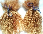 Golden dolls hair -  strawberry blonde teeswater locks spinning and felt making wool supply