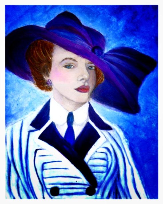 Original Fine Art 8 by 10  Ladies Fashion Print, Woman Art, Victoria Fashion, Titanic Inspired, Period Fashion, Kate Winslet Inspired, Blue