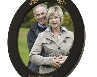 Engraved 50th Anniversary Black Oval Photo Frame