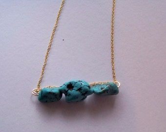 Simple Natural Turquoise Beaded Necklace