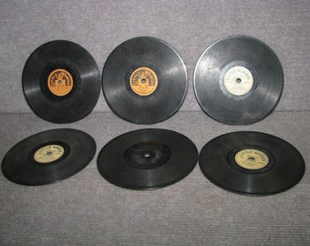 Lot of 6 Antique Vintage Kids Toy Phonogrph Record Player Records