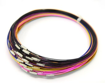 6pc Mix color Steel Memory Wire Cord Necklace Choker-7623H