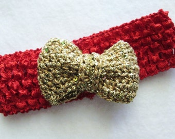 Special occasion red holiday headband and gold bow mini clip with teeth