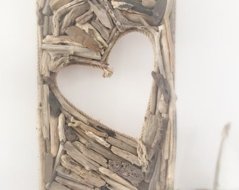 DRIFTWOOD wall HEART art WALL Hanging beach home natural decor shabby chic nautical sea Statement piece
