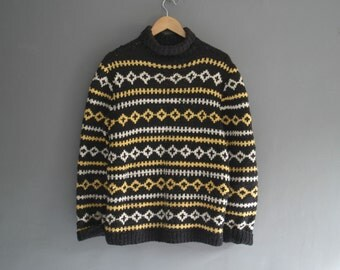 Chunky Hand Knit 80s Cotton Blend Sweater