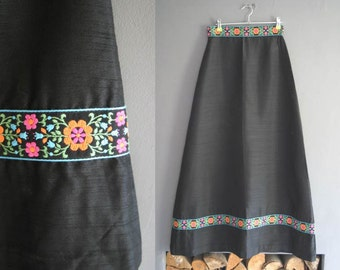 """70s Embroidered Silk Maxi Skirt 26"""""""